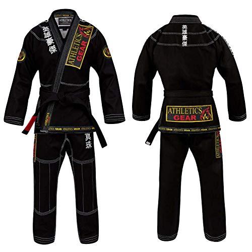 BJJ Gi brasilianische Jiu Jitsu-Gi-Uniform-Anzüge von Athletics Gear, 100 % Baumwolle, Perlen-Gewebe mit Patches, leicht, für Kinder, Herren und Damen, Schwarz , M4 (150cm - 159cm)