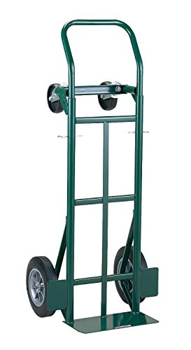 "Harper Trucks JEDT8635P 700 lb Capacity Super-Steel Convertible Hand Truck, Dual Purpose 2 Wheel Dolly and 4 Wheel Cart with 10"" Flat-Free Solid Rubber Wheels"