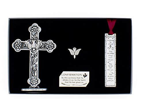 Holy Spirit Catholic Confirmation Silver Metal Pewter Finish Gift Set for Boy or Girl Includes Engraved 4.75' H Standing Cross, 4' Metal Bookmark with Ribbon and Descending Dove Pin