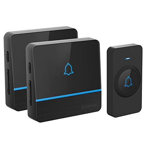 Wireless Doorbell, X-Sense Waterproof Door Bell Kit over 2,000 Feet Wireless Range with 2 Receivers, 56 Melodies & 5 Volume Levels, Black