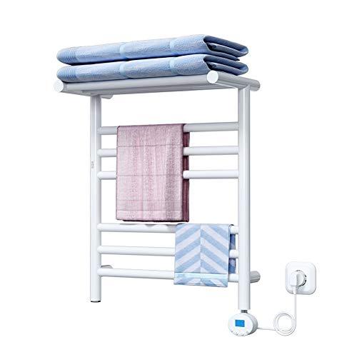 Handdoekwarmer elektrische handdoekdroger, aan de muur bevestigde radiator voor badkamer en thuis, 250 W handdoekverwarmer met temperatuurregeling en timer, 360 ° waterdicht, 500 x 400 mm, wit