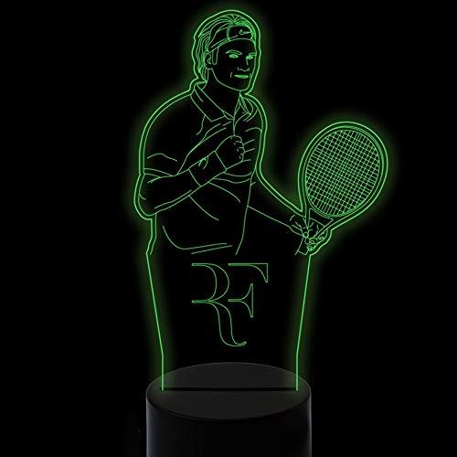 Wenig/kleines Nachtlicht, 7 Farben, die den Tennisspieler modellieren 3D-Tischlampen-Noten-Nachtlicht-Baby-Schlaf-Beleuchtungs-Sportfreund-Geschenke USB-Weihnachtsbunte Änderungs-Nacht