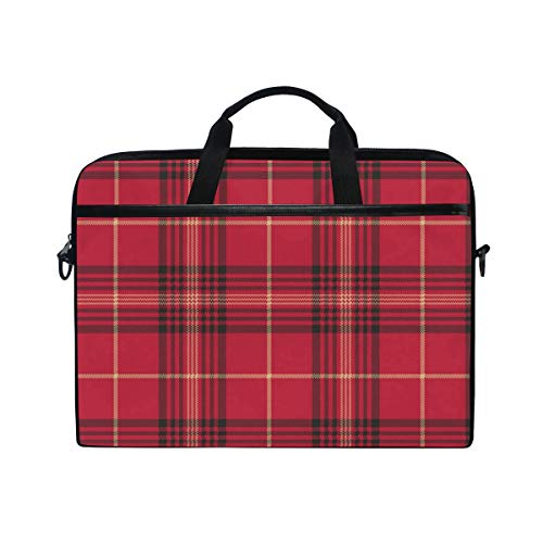 EZIOLY Plaid Checked Laptop Shoulder Messenger Bag Case Sleeve for 14 Inch to 15.4 inch Laptop