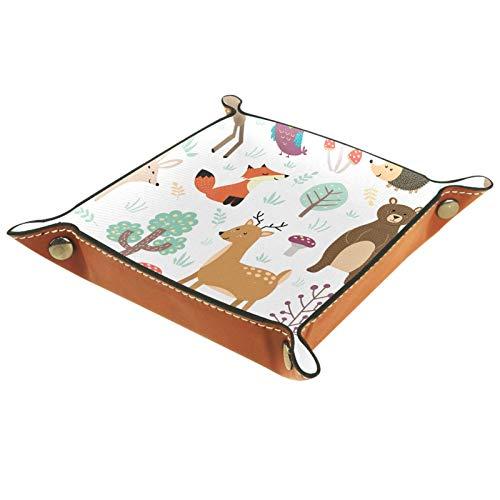 Bandeja de Cuero - Organizador - Zorro ciervo oso conejo búho - Práctica Caja de Almacenamiento para Carteras,Relojes,llaves,Monedas,Teléfonos Celulares y Equipos de Oficina