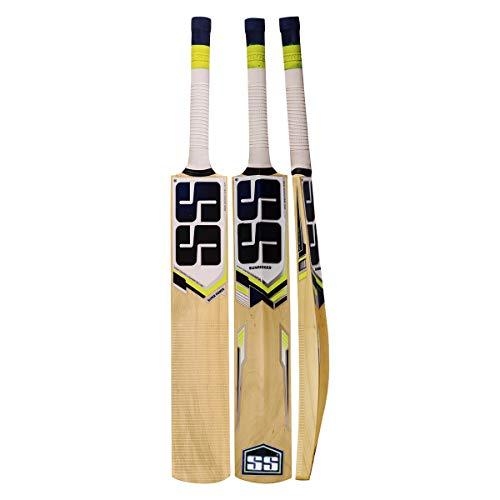 Zeepk Sports Cricket Bat for Tape Ball and Tennis Softball Kashmir Willow Thick Edge 44mm Short Handle Light Weight Full Adult Size Model Blue KHARAK