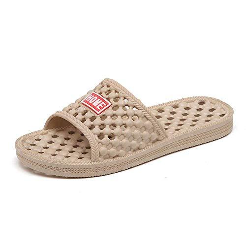 LIANGANAN Sandalias clásicas cómodas, zapatillas antideslizantes de baño, zapatillas de masaje huecas para hombres y mujeres-Khaki_35, sandalias cómodas clásicas zhuang94