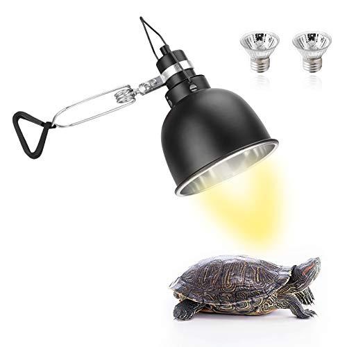 Seven Master - Lámpara de calor para reptiles de 25 W, lámpara de cúpula para acuario con fijador e interruptor, abrazadera UVA UVB, lámpara colgante para tortuga lagartija y otros reptiles (con 2 bombillas)