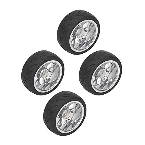 FECAMOS Reemplazo de neumáticos RC, neumáticos de Coche RC Antideslizantes pegados para HSP 94122/94123 / TT01 / WF06 1/10 RC Car(Silver)