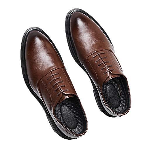 Zapatos Oxford para Hombre Zapatos Formales de Corte bajo con Cordones de Color sólido Zapatos de Cuero clásicos Antideslizantes para Vestir