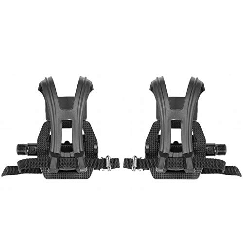 DIYARTS 2Pcs Aluminum Alloy Pedals with Clips and Belts Non-Slip Textured Pedals Fitness Equipment Accessory for Exercise Bikes Spinning Bikes
