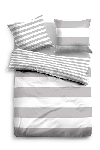 TOM TAILOR 0049769 komplet pościeli z poszewką na poduszkę Linon Casual Stripe 1x 135x200 cm + 1x 80x80 cm szary