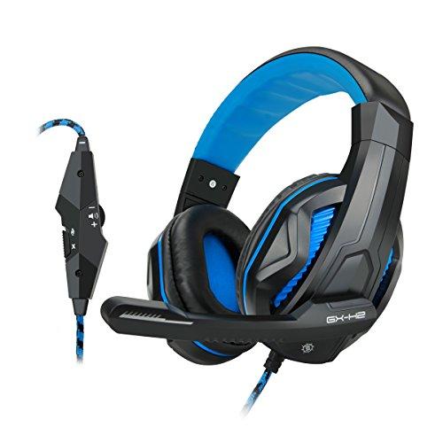 ENHANCE GX-H2 Gaming Computerspiel-Headset mit geräuschisolierenden Ohrpolstern, einstellbarem Mikrofon und Lautstärkeregler
