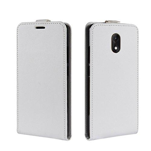 LMFULM® Hülle für Wiko Lenny 5 (5,7 Zoll) PU Leder Magnet Brieftasche Lederhülle Up-Down-Flip Design Standfunktion Ledertasche Cover für Wiko Lenny 5 Weiß