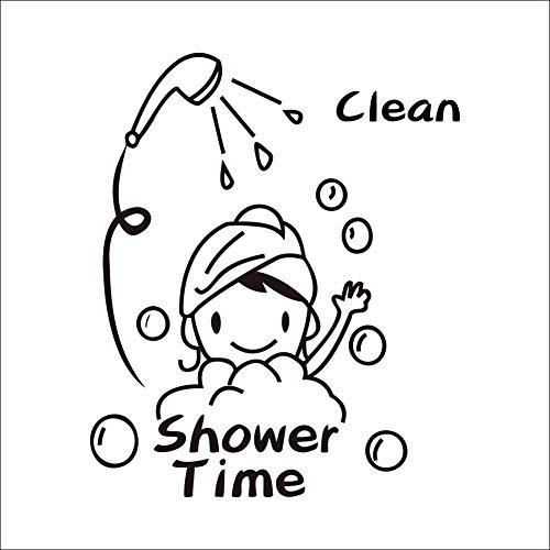 Lumanuby 1x Mädchen hat Dusche Aufkleber Deko aus Wasserdicht und abnehmbar PVC mit Wort ' Clean, Shower Time' für Glas Wand Fliesen von Bad 45x63cm, Schwarz, Wandtattoo Serie