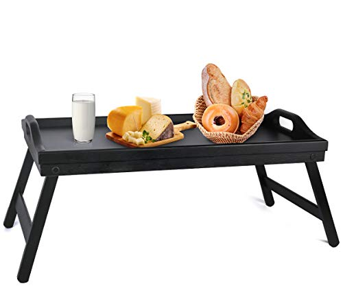 Bed Tray Table with Folding Legs Wooden Serving Breakfast in Bed or Use As a, Platter Tray, TV Table, Laptop Computer Tray, Snack Tray