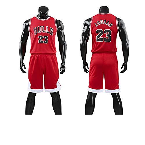 LYY Jersey Men's, NBA Chicago Bulls # 23 Michael Jordan - Niño Adulto Classic Baloncesto Sportswear Suelte Comfort Chalecos Tops Sin Mangas Camisetas Uniformes Set,Rojo,5XL(Adult) 185~190CM