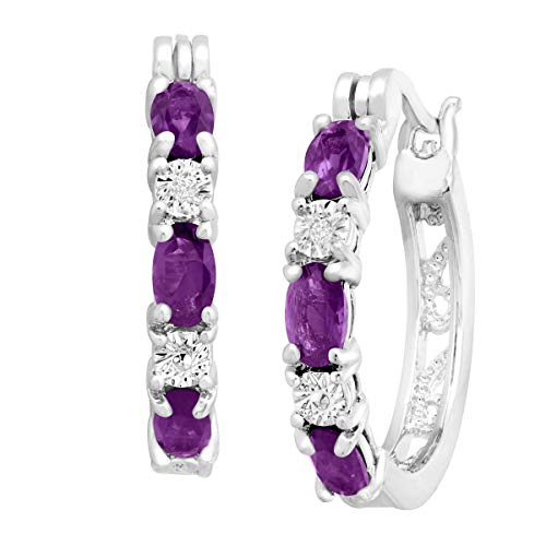Platinum-Plated Brass 1 3/8 ct Natural Amethyst Hoop Earrings with Diamonds.875'