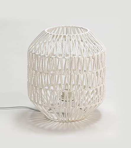 Els Banys Lámpara de Mesa, sobremesa Andra, de Cuerda Natural Acabado Blanco naturak, diámetro Base 28cm, Altura 32cm