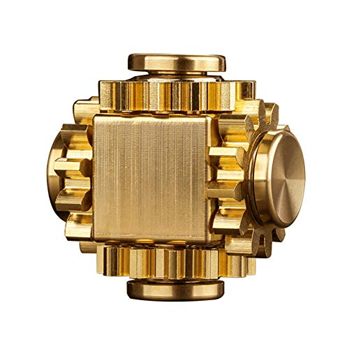 PAPUKA Pure Brass Cube Gears Linkage Anti-Anxiety Fidget Spinner Toy,Metal DIY EDC Meditation Break Bad Habits ADHD Finger Spinning Toy for Kid and Adults,High Speed Precision Brass Material