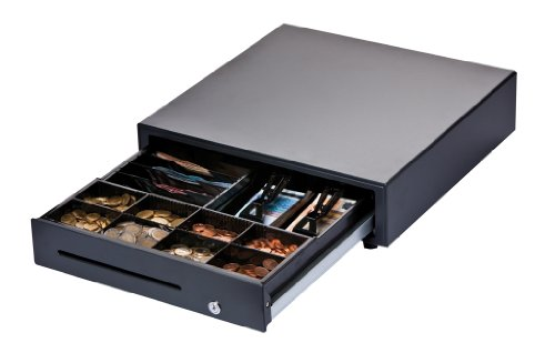 DIGIMEX Professionelle Kassenlade, 6 Scheinfächer (2 liegend und 4 stehend), 8 Münzfächer, schwarz, Robuste Frontöffnung Kassenschublade, Standardanschluss für Kassendrucker