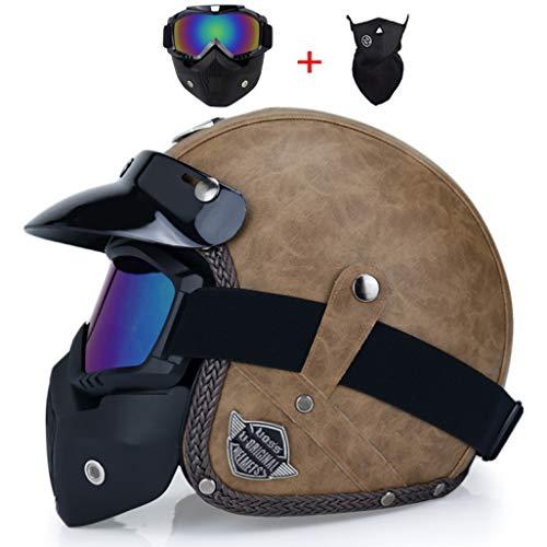 OLEEKA Retro Vintage estilo alemán casco de la motocicleta 3/96 Open Face Casco Scooter Chopper Cruiser Biker Moto casco máscara gafas