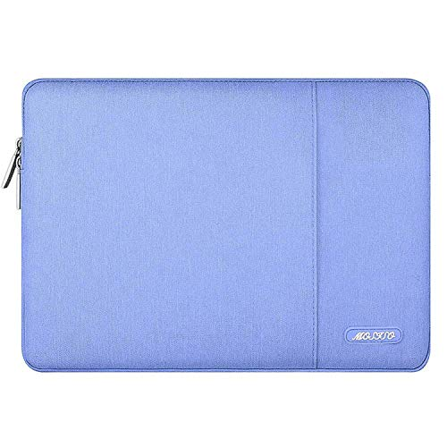 MOSISO Laptop Sleeve Bag Compatible with 13-13.3 inch MacBook Pro, MacBook Air, Notebook Computer, Water Repellent Polyester Vertical Protective Case Cover with Pocket, Serenity Blue