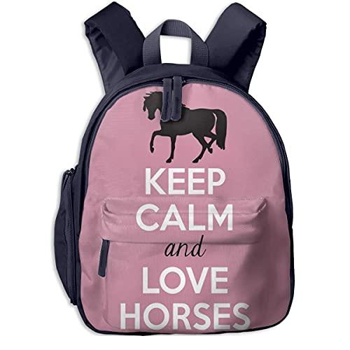 Keep Calm Love Horses Borsa per bambini Design Zaino per studenti Borsa colorata Super