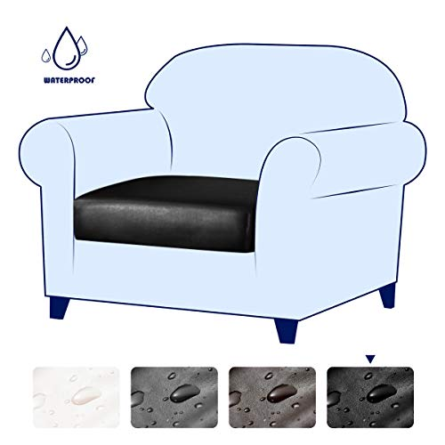 subrtex Spandex Elastic PU Couch Stretch Water-Proof Patio Durable Cushion Slipcovers Furniture Protector Slip Cover for Settee Sofa Seat for Replacement in Living Room (Chair, Black Leather