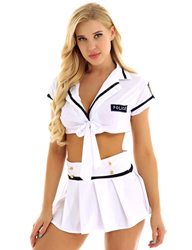 MSemis Conjuntos de Lencería para Mujer Disfraz Policía Uniforme de Azafata Crop Top Cuello V Sexy Falda Plisada Picardías de Animadora Clubwear Blanco Talla única