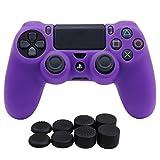 YoRHa silicona caso piel Fundas protectores cubierta para Sony PS4/slim/Pro Mando x 1 (púrpura) Con PRO los puños pulgar thumb gripsx 8