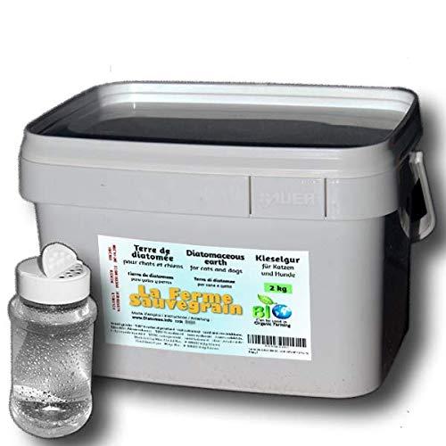 Tierra de Diatomeas alimentaria para Gatos y Perros - antipulgas natural - 2kg + dispensador ofrecido