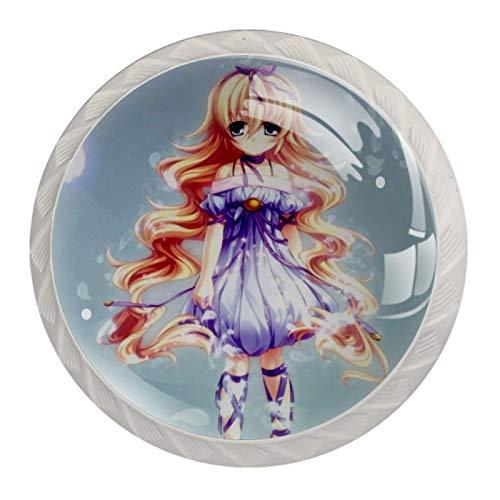 Pomo de armario Vestido de niña de anime Pomos Redondos, 4 x Tirador de Cocina, Tiradores Muebles para Armario, Puerta Armario, Gabinete, Cajón, Puertas de Muebles, Zapateros 35mm