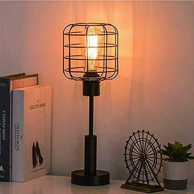 Vintage Cage Table Lamp, Industrial Bedside Desk Lamp for Nightstand Bedroom, Guest Room Metal, Black