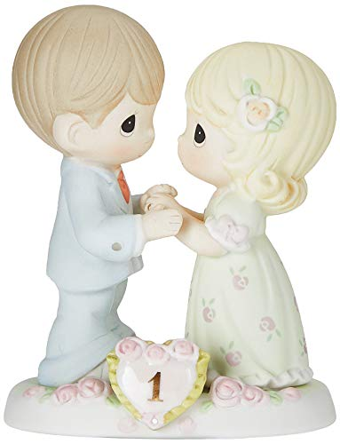 Precious Moments, A Whole Year Filled With Special Moments, 1st Anniversary, Bisque Porcelain Figurine, 115910,Multicolor