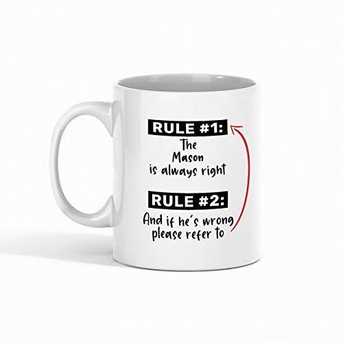 N\A Taza de café de albañil - Regla 1 El albañil Siempre Tiene la razón Regla 2 y si él 'SIncorrecto, consulte compañero de Trabajo - Tazas Divertidas Regalos de un Amigo