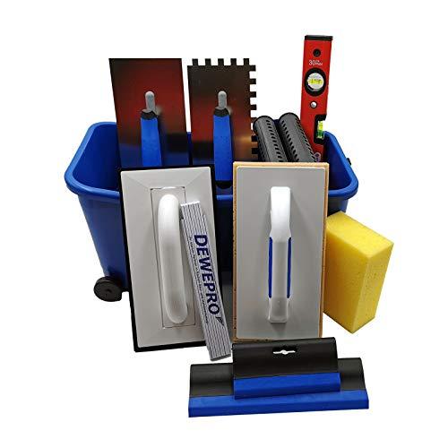 DEWEPRO® 13-teiliges Fliesenleger Waschset XL - 16l Waschbox - Schwammbrett - Fugengummi - Wasserwaage - Zahnkelle 10x10mm