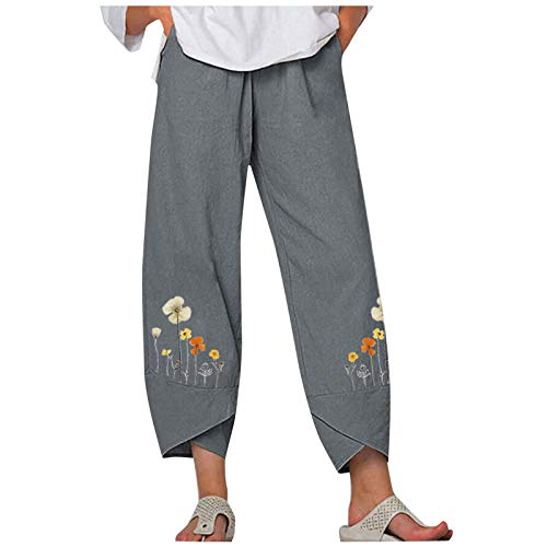 Maryia Harem Pants for Women Capri Flower Print Comfy Palazzo Pajama Drawstring Elastic Waist Embroidery Sweatpants Gray