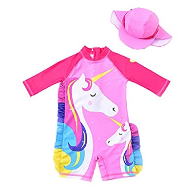 Baby Girl One Piece Swimsuit Sunsuit Long Sleeve Swimwear Rash Guard Toddler Kid Unicorn Bathing Suit Zip with Hat (4 Years/100) Pink