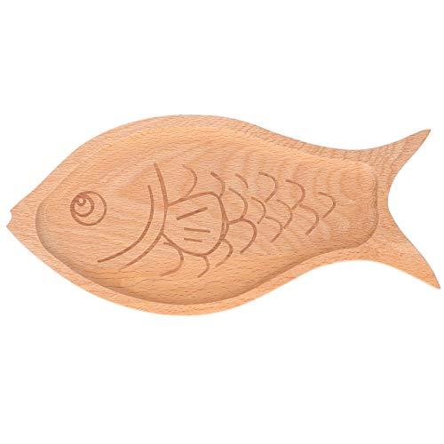 Plato de madera, Bandeja multigrano con forma de pescado Bandeja de frutas creativa Bandeja de postre Caja de mesa Caja de dulces