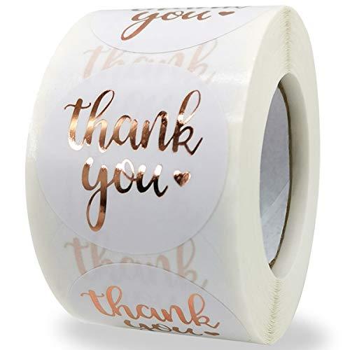Danke Aufkleber,500pcs Runde Thank You Geschenkaufkleber Dankeschön Sticker für Grußkarten, Blumensträuße, Süßigkeitentüten und Thank YouGeschenkpapier(Roségold-1)