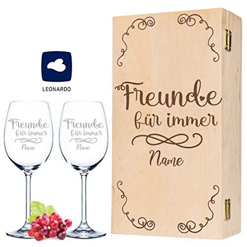 Leonardo Weingläser Geschenkset Freunde für immer mit Namens Gravur inkl. gravierter Vintage-Holzkiste - Geschenkset für die beste Freundin - Mädelsabend bei Gutem Wein