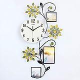 Reloj de pared con campana de metal, con marco de fotos de 50,8 cm, moderno reloj de salón creativo para colgar en la mesa simple pastoral de dormitorio, silenciador de cuarzo, 1 pila AA (no incluida)