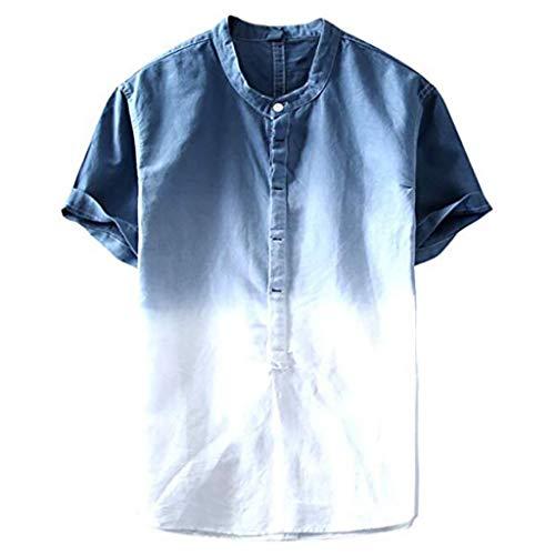 Fannyfuny Bluse Hemd Shirt Herren T-Shirt Polokragen Polohemd Knöpfe Design Männer Slim Fit Kurzarm Tee für Sport Freizeit und Arbeit Casual Kurzarm Hemd Tops Reise Hemd Mode Persönlichkeit T-Shirt