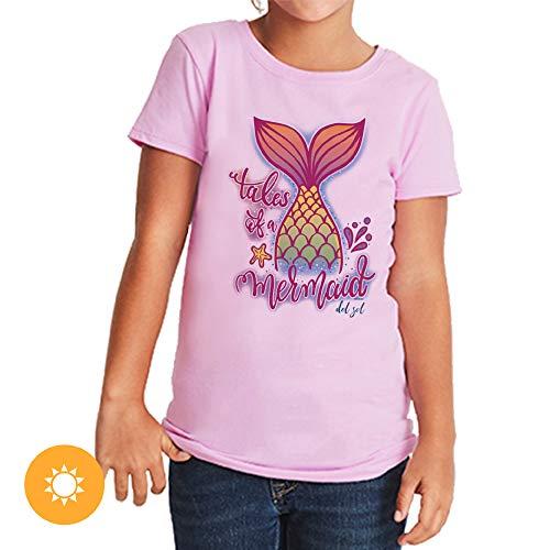 Del Sol Camiseta de manga corta de algodón peinado con diseño de sirena, color rosa a colores vibrantes en el sol, 100, talla YL, blanco, 1 unidad