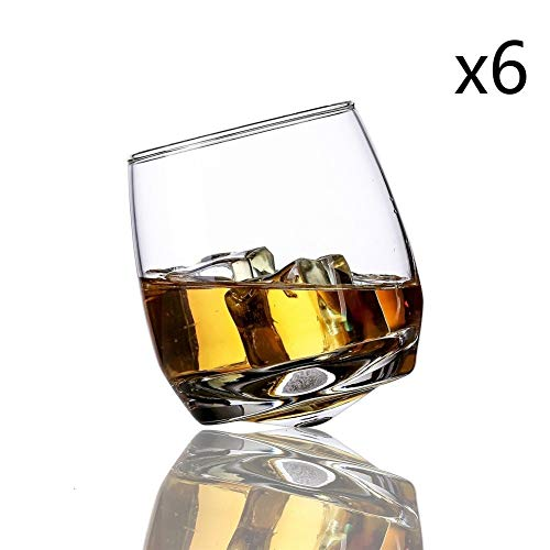 Creative Tumbler Gyrate wijnglazen Scotch Whisky Rock glas for Bar Office Household Beer Jack Whisky Crystal Cup Groothandel (Capacity : 270ml, Color : 6 Pieces)