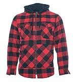 ROCK-IT Apparel® Camisa de Franela de Manga Larga de Hombre a Cuadros con Capucha Camisa de leñador Camisa de Cuadros Camisa Casual Premium Camisa Tallas S-5XL Hechas en Europa Negro/Rojo XL