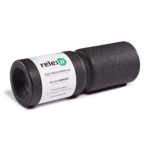 relexa Comfort Faszienrolle, Massagegerät mit Umlaufrille für die Wirbelsäule, Ganzkörper-Selbstmassage für Verspannungen, inkl. Faszien-eBook, 38 x 13 cm (L x Ø) in Schwarz