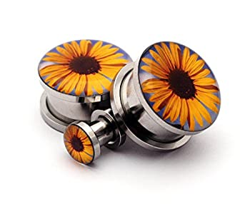 Screw on Plugs - Sunflower Picture Plugs - Sold As a Pair  6g  4mm