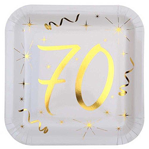 Chal - 10 Assiettes anniversaire 70 ans blanc et or