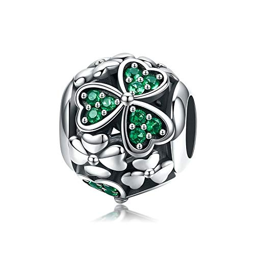 XIAODAN Authentic 925 Sterling Silver Shamrock Flower Green Crystal Beads Charm fit Charm Bracelet Necklace Jewelry Making